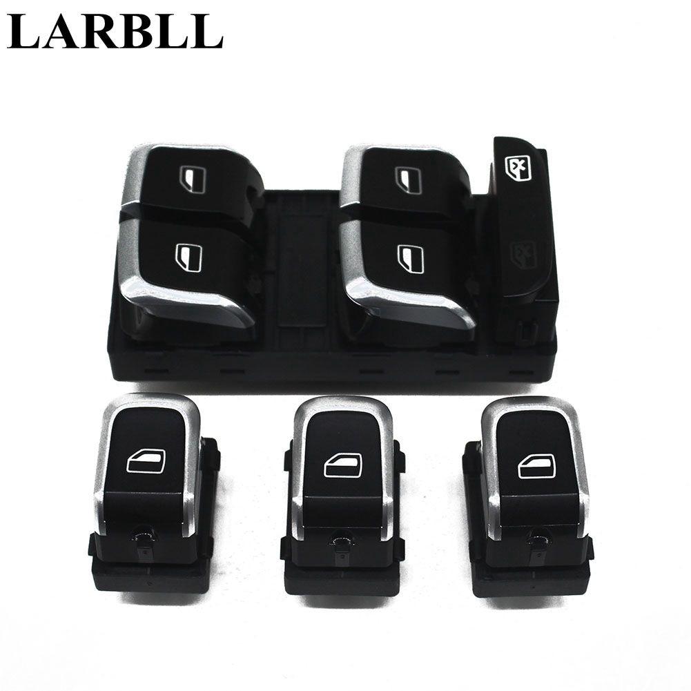 LARBLL 4Pcs Lot 4Pcs Chrome Window Main Control Passenger Side Switch Button For Audi A4 Q5