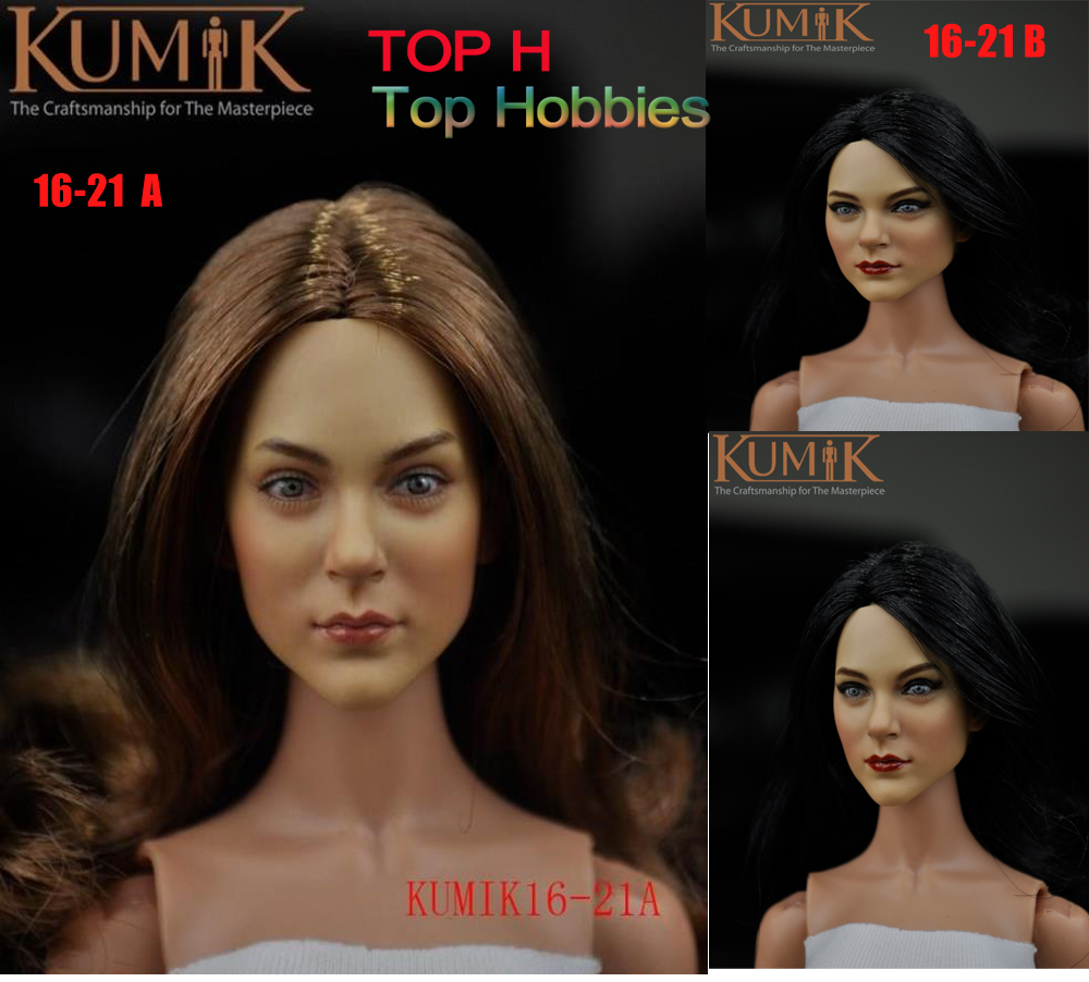 KUMIK 16-21 A/B 1/6 Scale Female Headplay Girl Head Sculpt Fit 12 Hot Toys Phicen Action Figure dstoys d 005 1 6 scale female head sculpt beauty girl headplay long curly hair for 12 ht phicen action figure