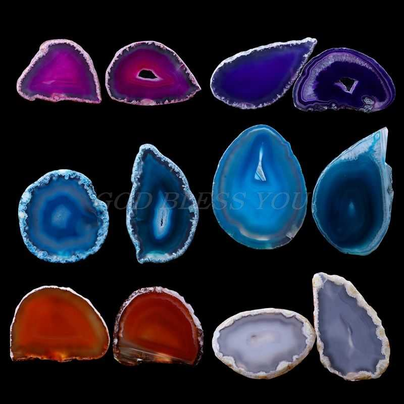 Natural Agate Geode Polished Irregular Crystal Slice Stone DIY Pendant Mineral Home Decoration