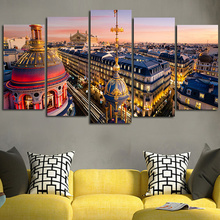 2016 5Planes Wall Art Canvas Painting European Style Building Colorful View Abstract Tableau Moular Picture Artwork No Framed
