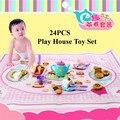 24 pçs/set plástico crianças crianças Pretend Play Toy Set chá da tarde bolo de sobremesa com tapete