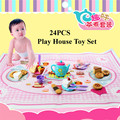 24pcs/set Plastic Kids Children Pretend Play Toy Set Afternoon Tea Dishes cake Dessert Food Gift with play mat