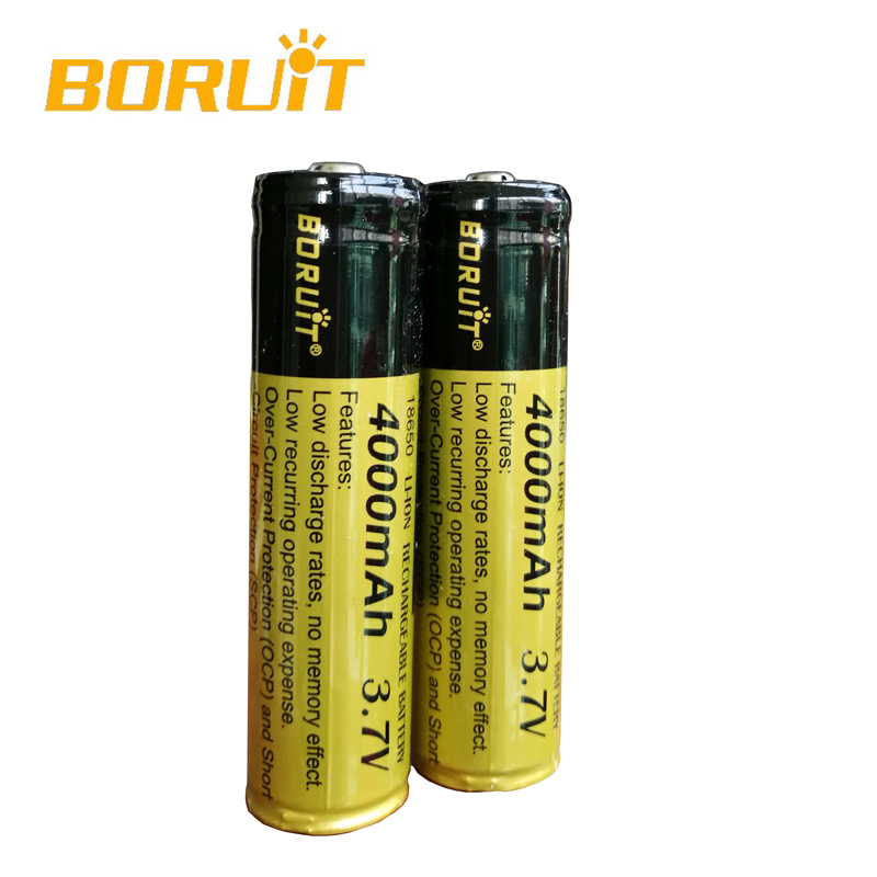 Boruit 4PCS 4000mAh Rechargeable With PCB Protected 18650 Batteries Battery Suitable For Headlamp Headlight Flashlight Torch
