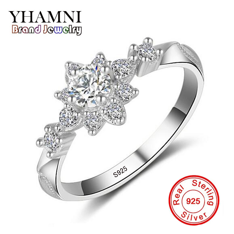 YHAMNI Original Solid 925 Sterling Silver Ring Top Quality CZ Zircon Silver Jewelry Engagement Women Ring  JZR058