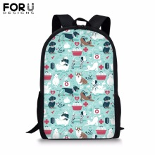 FORUDESIGNS Printing Animal School Bag for Girls Boys 16 inch Customize Image Backpack Kids Children Polyester Bookbag Mochila