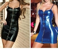 2016 High Quality Women Nightclub Dress Sexy Imitation Leather Metal Zipper Cool Tight Black Blue Suspenders Club Dress Clothes