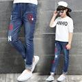 Children Denim Trousers For Girls Jeans Elastic Waist Letter Kids Pants Casual Brand Teenage Girls Costumes
