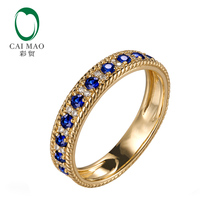 Caimao Jewelry 14K Yellow Gold 0.09ct Pave H SI Natural Diamond & 0.47ct Sapphires Engagement Rope Wedding Band