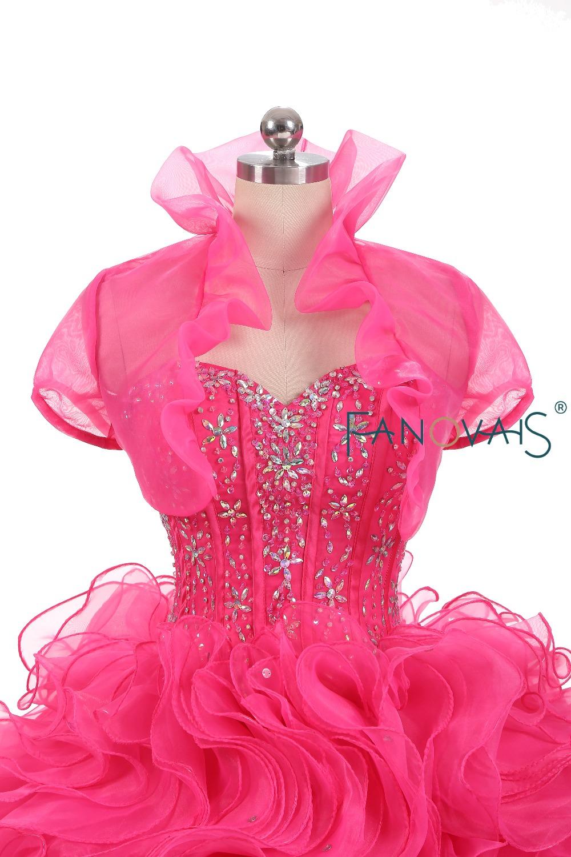 2018 Quinceanera Dresses With Bolero Sweet 16 Organza ruffles Beads ...