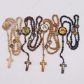 New Arrive 4 colors wood Rosary Beads INRI JESUS Cross Pendant Necklace Catholic Fashion Religious jewelry