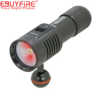 EBUYFIRE 4W2R Diving Led Flashlight Scuba Diver Photography Video Torch lantern Lamp Underwater Lights White Red XPG2 lighting