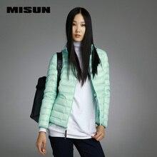 MISUN 2017 das mulheres para baixo casacos magro duplo para desgaste curto com capuz de down brasão da longo-luva S-XL zippers sólidos com bolsos MSDQ-V002J