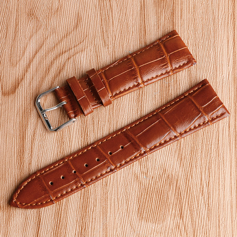 Luxury Grain Cow Black/Brown Replacement Embossed Watchband Genuine Leather High Quality 18mm 20mm 22mm 24mm Wrist Watch Band high quality genuine leather watchband 22mm brown black wrist watch band strap wristwatches stitched belt folding clasp men