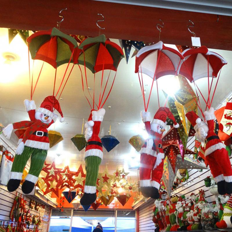 1pcs new year party hanging pendant christmas ceiling decorations parachute santa claus smowman decoration accessory in christmas from home garden on