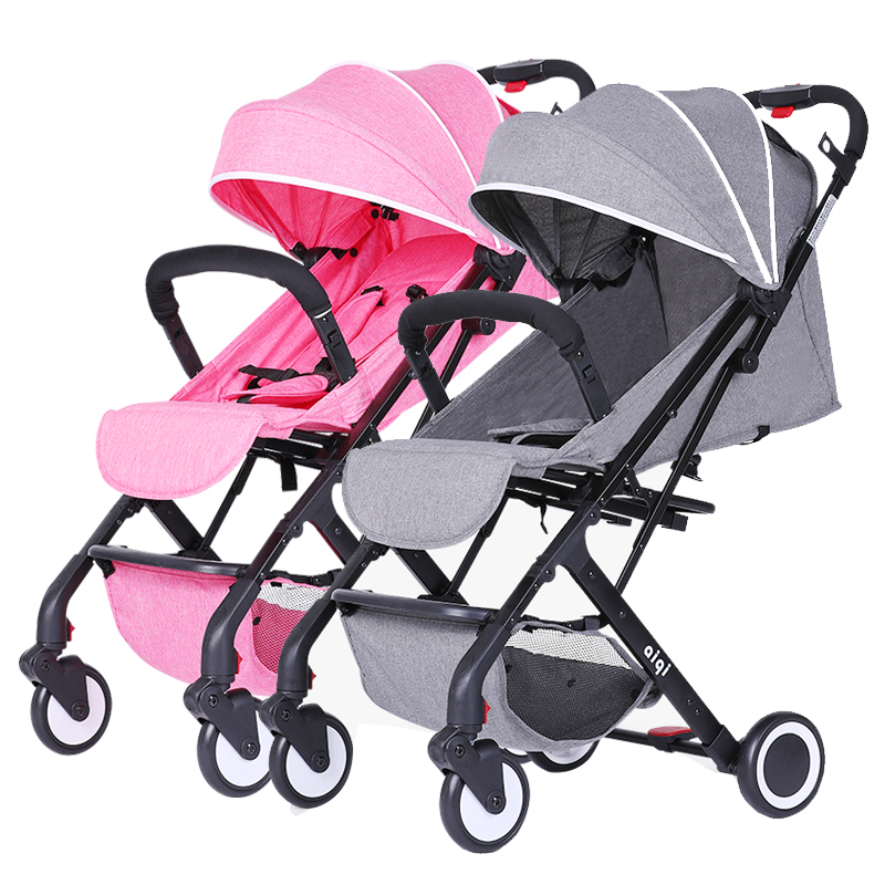 Super light  Twin Baby Stroller High Landscape Light Folding trolley baby can Sitting And Lying Portable Carts can be on plane twin stroller high landscape can lay the portable folding baby cart