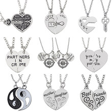 24ff09c666 I Love You Best Friends Jewelry Puzzle BFF Key Lock Compass Tai Chi Broken  Heart Pendants Necklaces For Women Men Couple Collier