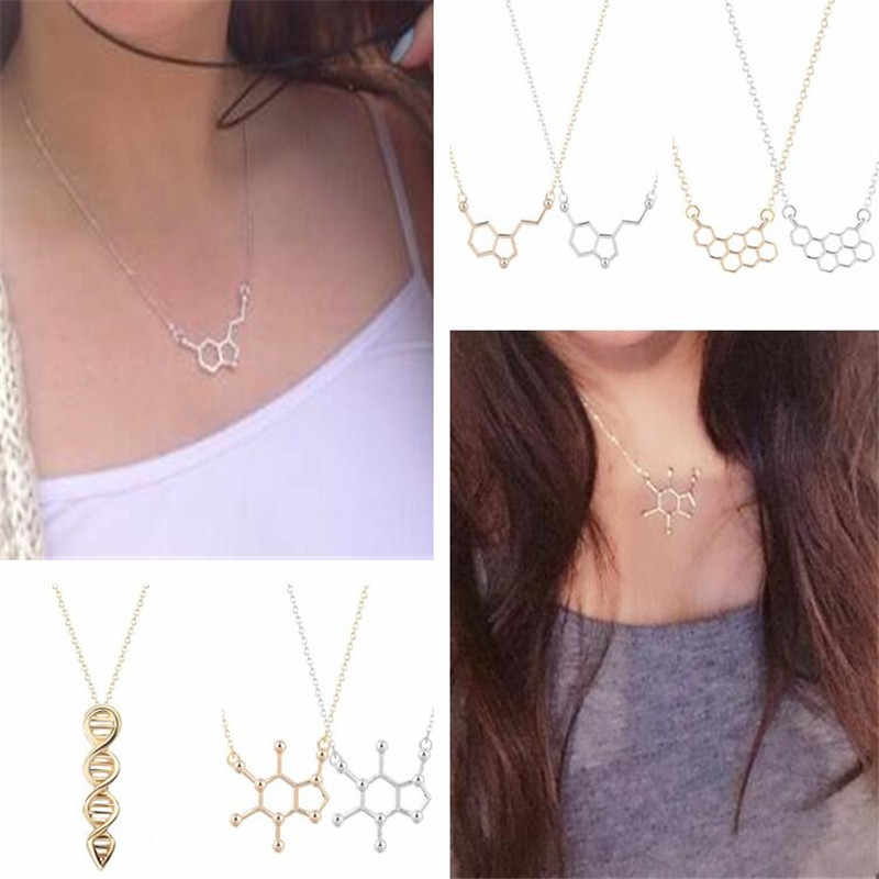 QIAMNI Serotonin Molecule Chemistry DNA Necklace Geometric Polygon Honeycomb Necklace Dopamine Love Jewelry Christmas Gift