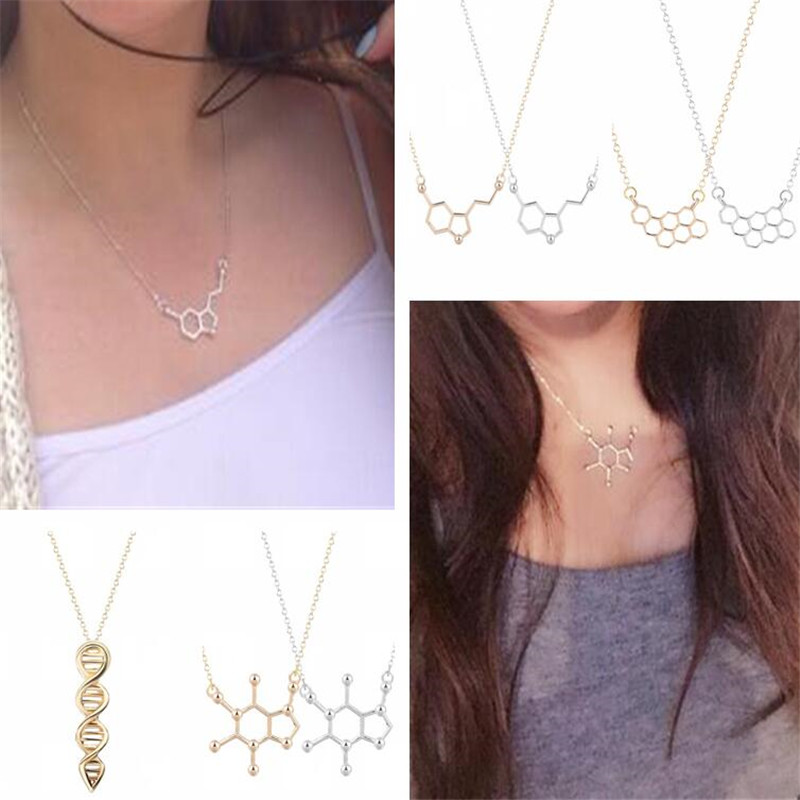 Dopamine Molecule Chemistry Science Pendant Necklace with 17inch Fine Chain