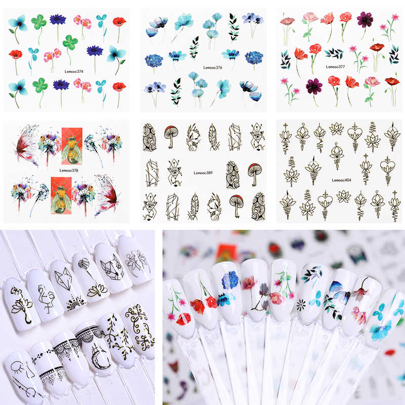LEMOOC Nail Water Decals Mixed Patterns Nail Art Transfer Stickers Flower Feather Butterfly DIY Nail Art Decoration Manicure