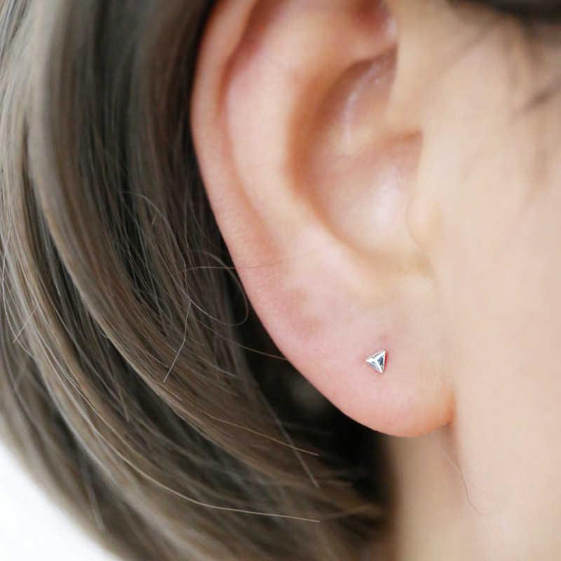 925 пробы модные серебряные украшения крошечные треугольные звезды спираль серьги-гвоздики A1158