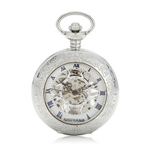 Classic Silver Steampunk Skeleton Roman Numerals Mens Lady Hand-winding Mechanical Pocket Watch W/Chain