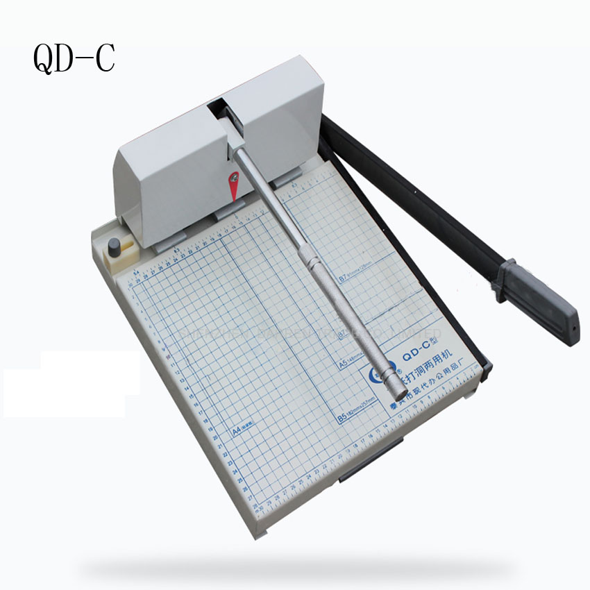 1PC QD-C Heavy Duty Ream Guillotine A4 Size Stack Paper Cutter Paper Cutting Machine,punching machine bore diameter 4mm/5mm/6mm a4 size manual flat paper press machine for photo books invoices checks booklets nipping machine