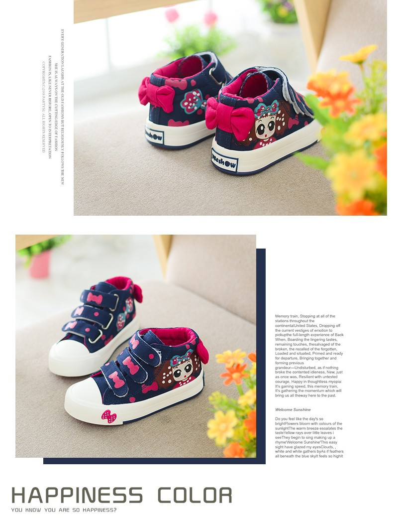 17 New Canvas Children Sneakers Bowknot Baby Girls Princess Shoes Denim Kids Sneakers Polka Dot Flat Boots for Girls 4