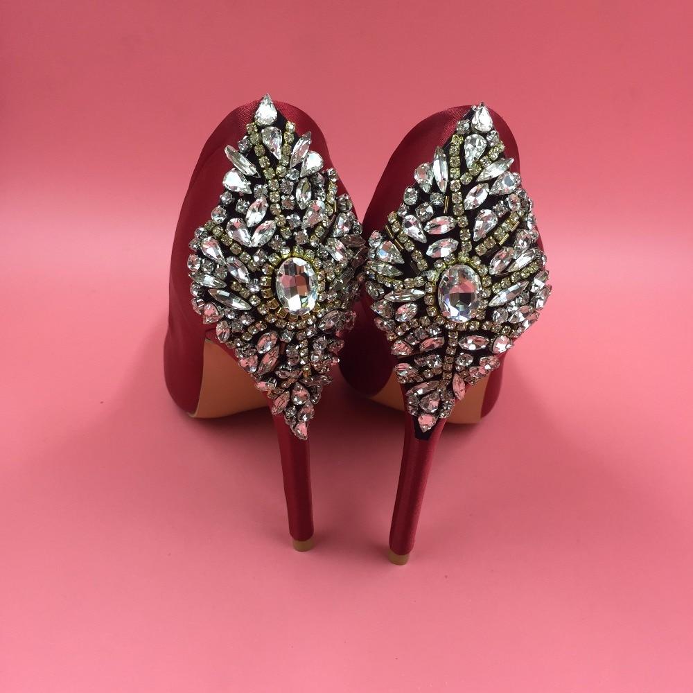 Round Toe Satin Red Wedding Pump Shoes Rhinestones Slip-on Platform High Heels Stilettos Crystals Bridal Shoes Handmade