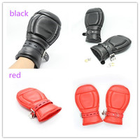 PU Leather Fetish Bondage Soft Padded Fist Mitts Pony Play Slave Mittens Protective Gloves Adult Sex Toys Black/Red For Choose