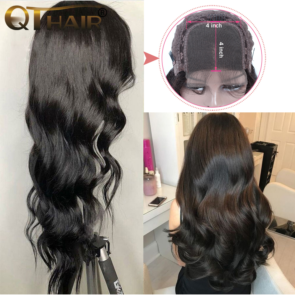 4 4 Lace Front Human Hair Wigs For Women Brazilian Body Wave Lace Frontal Wig Pre