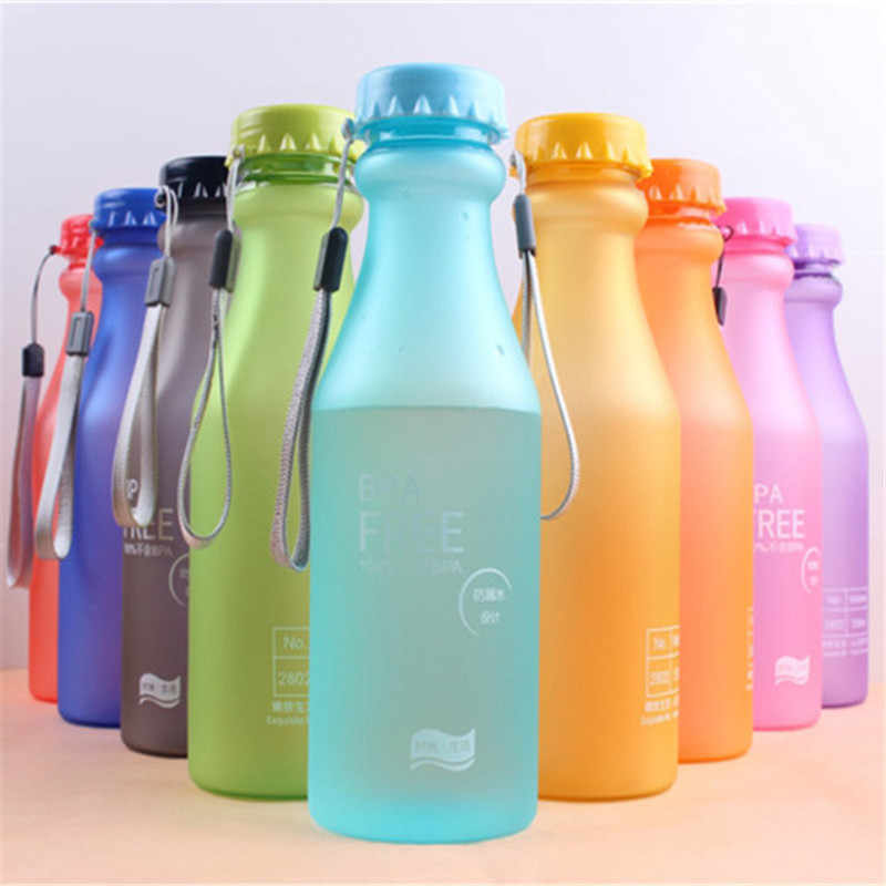 550ML Portable Candy Color Sports Soda Bottle Unbreakable Plastic Water Bottle High Quality BPA Free