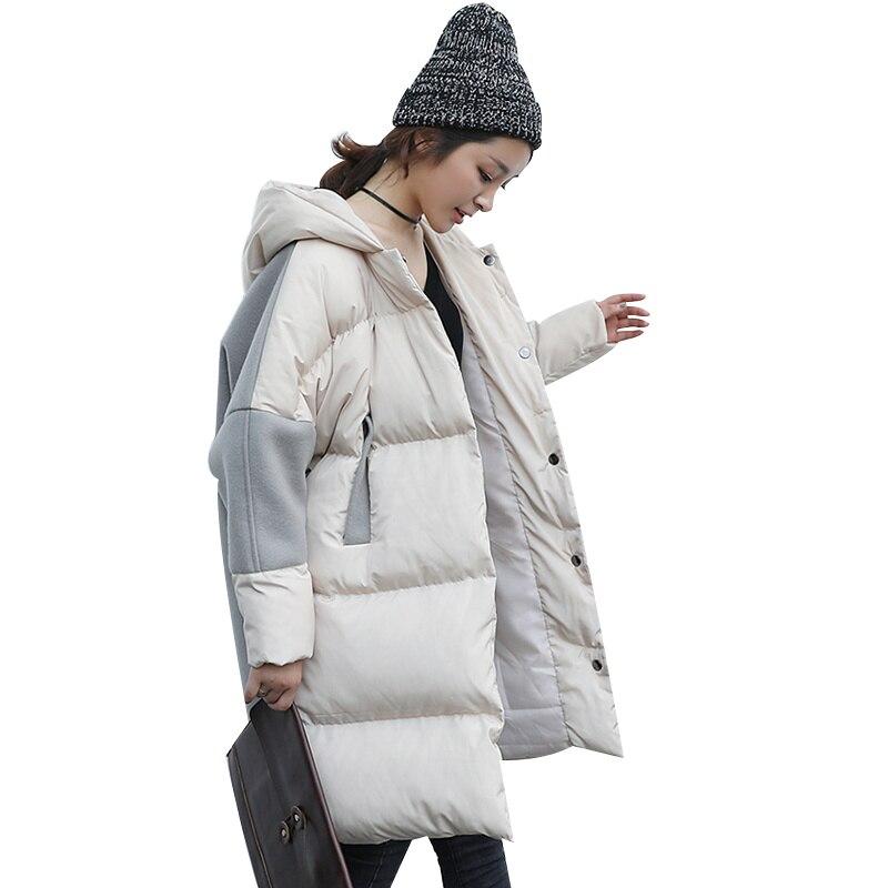 Oversized Coats Manteau Femme 2018 Winter Jacket Women Stitching Bread Coat Hood Cotton Long Jacket Female   Parkas   Overcoat C3621