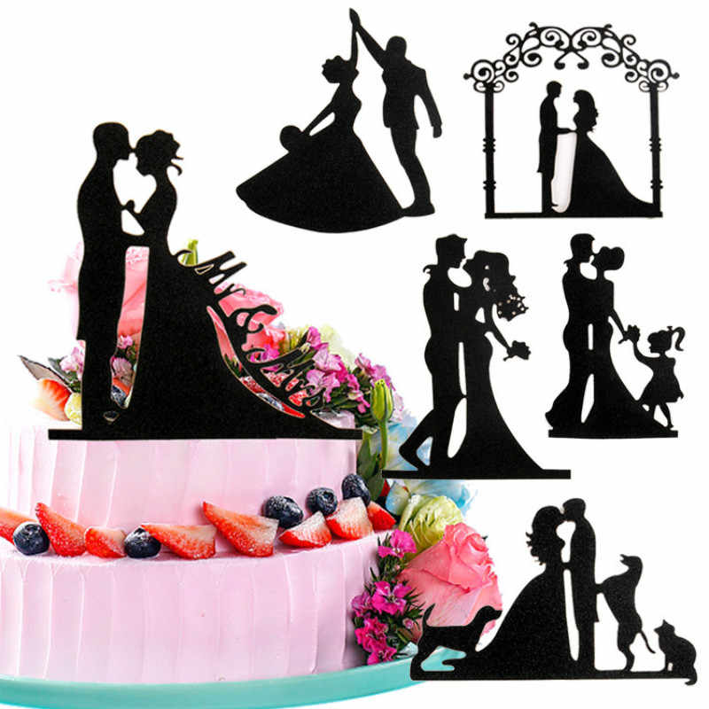 AJP Wedding Cake Topper Bride kiss Groom Black Cake Toppers Wedding Decoration Mariage Birthday Party Supplies Adult Favors