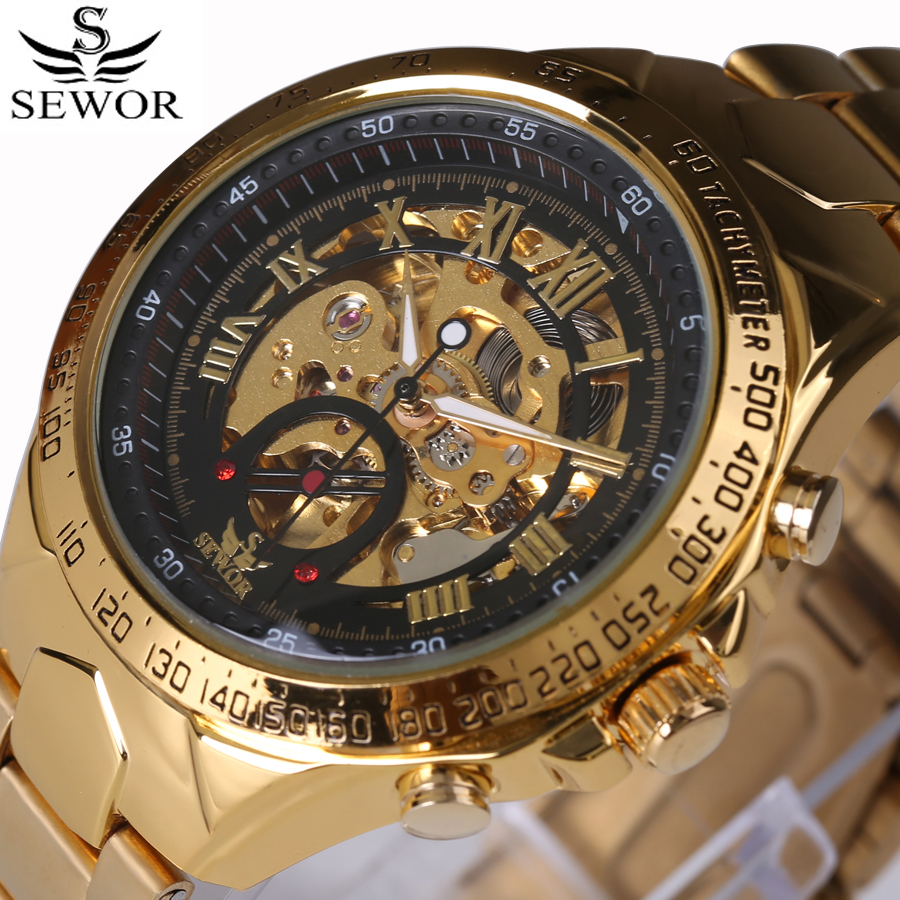 Luxury Brand Sports Business Men Wrist Watches Automatic Mechanical Gold Watch Military Stainless Steel Skeleton Watches Reloj