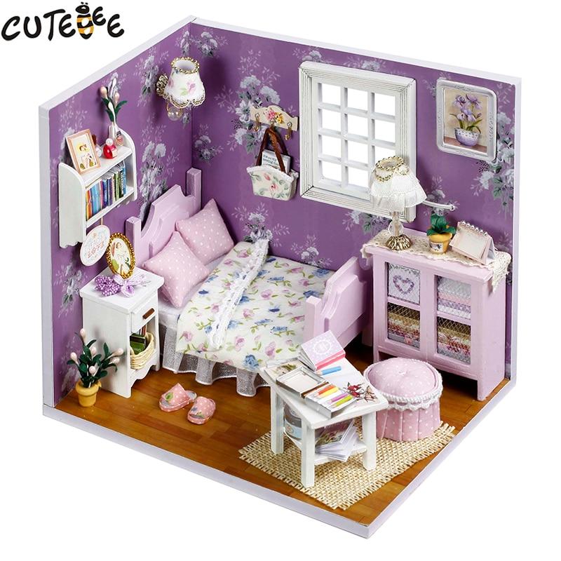 Cutebee Doll House Furniture Miniature Dollhouse DIY Miniature House Box  Theatre Toys for Children stickers DIY Dollhouse H14