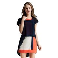 European Style Summer Dress O Neck Butterfly Sleeve Loose Big Size Chiffon Dress L XL XXL