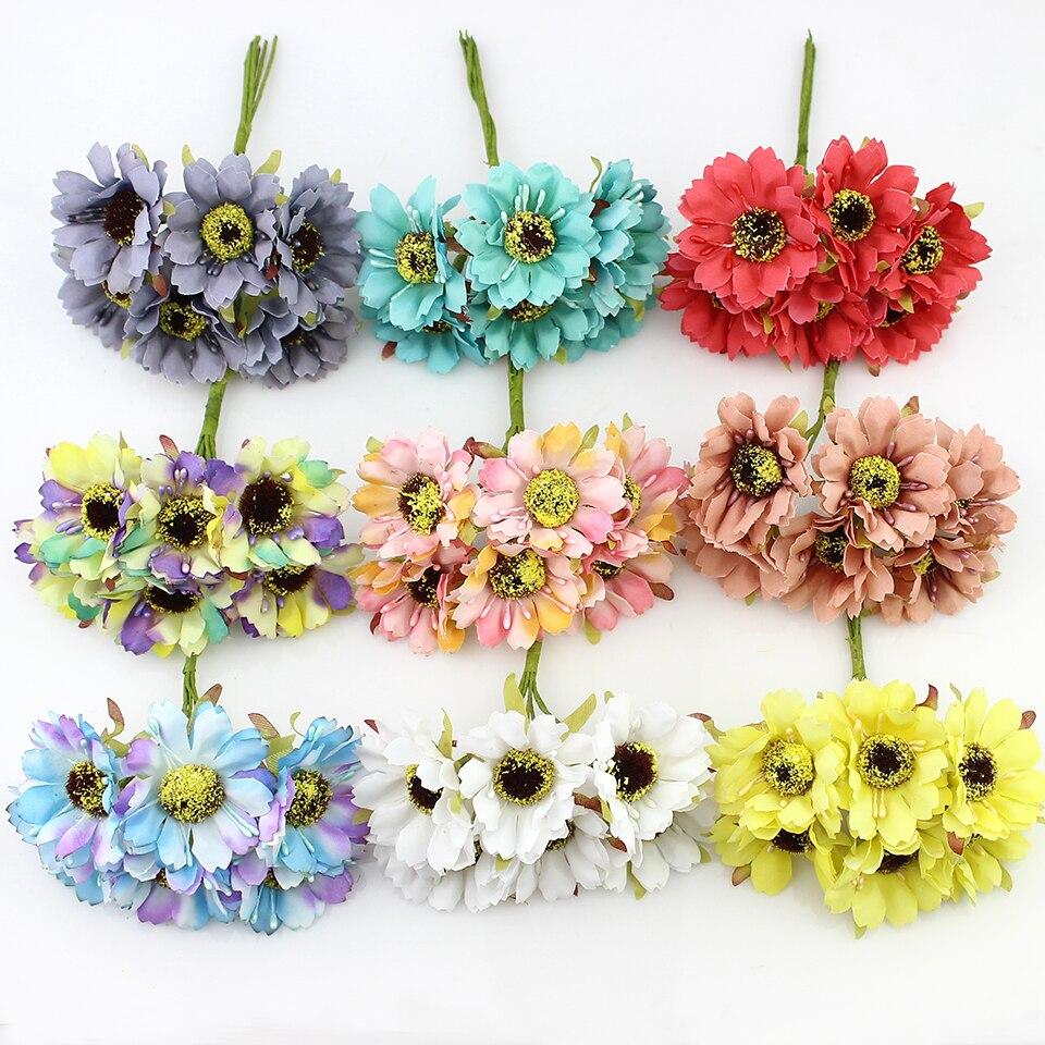 12 piezas de 4 cm flor de amapola Artificial Ramo de flores de Cerezo para el ho