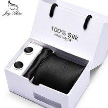 Joy Alice Classic Tie Hanky Cufflinks Set gift box Ties For Men Business Wedding Party Mens Geometric Silk Neck tie