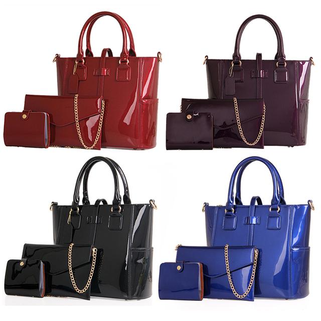 Women Bag 2017 Luxury Brand Handbags Leather Women Messenger Bags Chain Shoulder Bags Composite Bag 3 Sets Big Size Tote Fashion