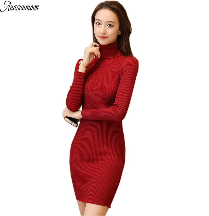 Casual Turtleneck Long Knitted Sweater Dress Women Cotton Slim Bodycon Dress Pullover Female Autumn Winter Dress 2017 Vestidos women turtleneck front pocket sweater dress
