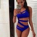 Sexy Oco Fora 2016 Mulheres Brasileiras Bandage One Piece Swimsuit Cor Sólida Maiô terno de natação para as mulheres Swimwear Acolchoado