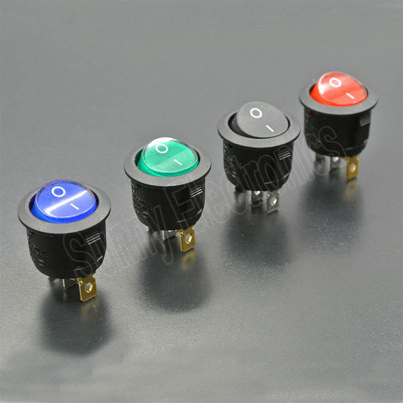 4pcs On/Off Red Green Blue Black 220V Lighted Round Rocker Switch Car Dash Dashboard BoatTruck RV Boat ATV Home 4pcs lot 20mm 3pin spst on off g116 round boat rocker switch 6a 250v 10a 125v car dash dashboard truck rv atv home