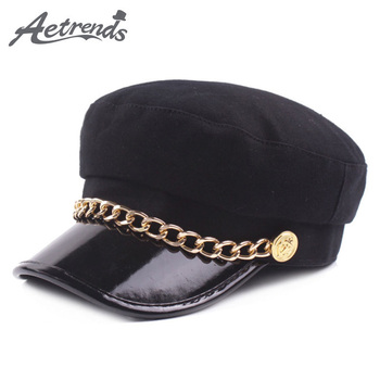 AETRENDS  lana sombreros para las mujeres béisbol gorras de moda sombrero  plano negro Tapa completa con anillos jóvenes Casquette Femme deporte Z-6220 f27bc91ec5e