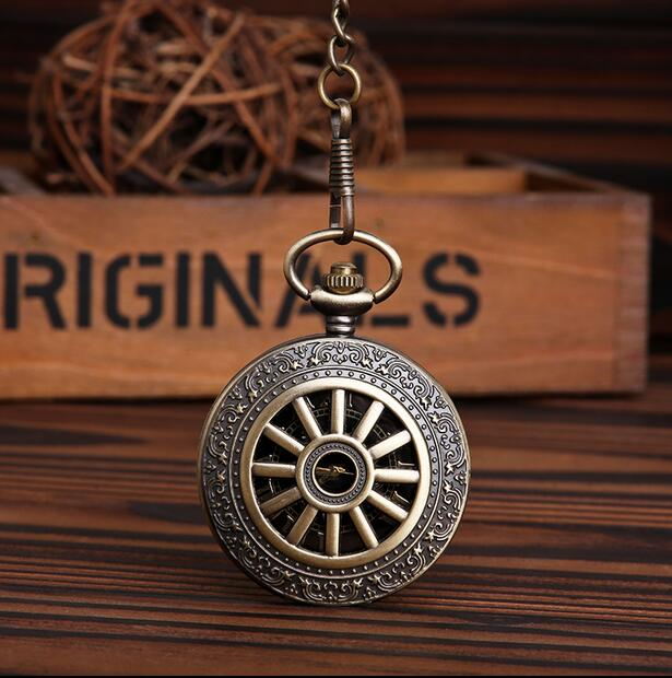 Vintage Bronze Hollow Wheel Quartz Pocket Watch Analog cowboy chain men gift PO024