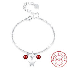 Charm Double 925 Sterling Silver Star Bracelet Women Red Agate Braclet Girls Kids Armband Adjustable Chain Braslet SB017(China)