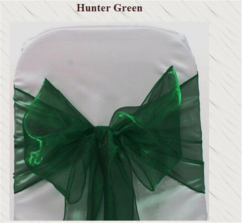 170pcs  Hunter Green  Banquet Chair Sash For Weddings Organza For Wedding Sashes Chair Bow
