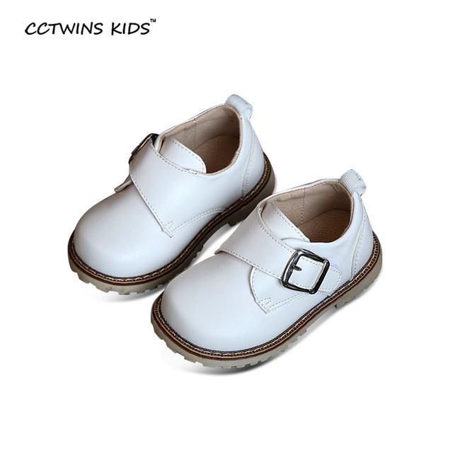 CCTWINS KIDS spring autumn boy brand pu leather shoe for toddler baby girl fashion black flats children white casual shoe