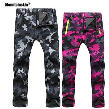 Mountainskin Women Men Fleece Pants Waterproof Warm Windproof Pant Outdoor Fishing Camping Hiking Skiing Trousers Brand VA281
