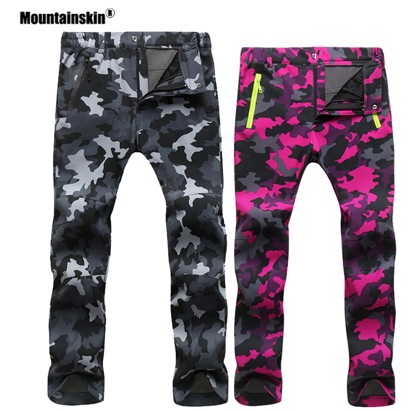 Mountainskin Women Men Fleece Pants Waterproof Warm Windproof Pant Outdoor Fishing Camping Hiking Skiing Trousers Brand VA281