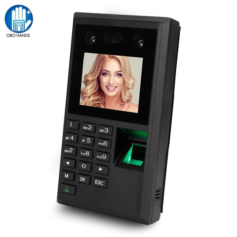 Biometric Facial Fingerprint Password Attendance Machine Access Controller Employe Checking-in Recorder 2.8inch Screen DC12V USB